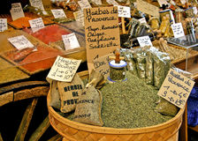 Herbs de Provence. A collection of herbs and spices in a market in France Royalty Free Stock Image