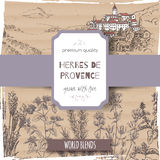 Herbs de Provence label with lavender, oregano, rosemary, thyme, basil.. Herbs de Provence label with Provence town landscape, lavender, oregano, rosemary Royalty Free Stock Photography