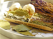 Herbs de Provence. Laurel, rosemary, lavender, and sage Stock Photography