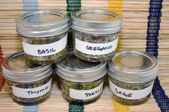 Herbs dried in jars. Dried herbs in bunches and jars for culinary and spa use royalty free stock photography