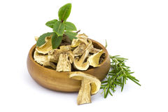Herbs and dried mushrooms - boletus Stock Photo