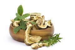Herbs and dried mushrooms - boletus Royalty Free Stock Photos