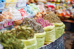 Herbs and dry flowers on a traditional Moroccan market Stock Image