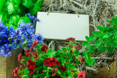 Herbs, flowers and green leaves. With a sign for own text stock images