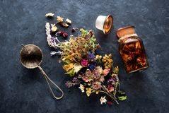 Herbs and flowers for herbal healing. Tea on black concrete background, top view Stock Photos