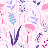 Herbs and flowers seamless pattern Stock Photos