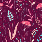 Herbs and flowers seamless pattern Stock Photo