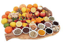 Herbs and Food for Cold Relief Stock Images