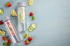 Herbs and fruits flavored infused water with strawberries and mint. Summer refreshing drink. Health care, fitness, healthy nutriti Royalty Free Stock Photography