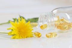 Herbs and herbal medicine pills. Healing herbs and herbal medicine pills with marigold Royalty Free Stock Images
