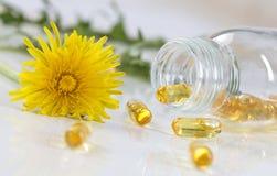 Herbs and herbal medicine pills. Healing herbs and herbal medicine pills with marigold Royalty Free Stock Photos