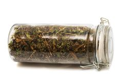 Herbs in a jar Royalty Free Stock Image