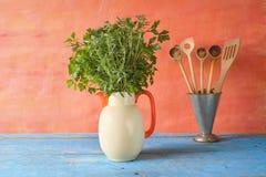 Herbs and kitchen utensils, Stock Photos