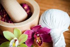 Herbs and massage compress stock image