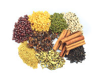 Herbs and Nuts. Various colorful nuts and herbs Royalty Free Stock Images