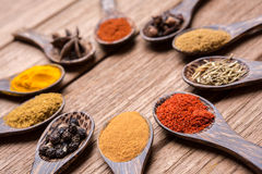 Free Herbs Of Asian On The Wood Spoon Stock Photos - 59950343