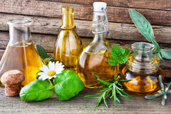 Herbs and oil Royalty Free Stock Photo
