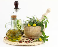 Herbs and  olive oil Royalty Free Stock Image