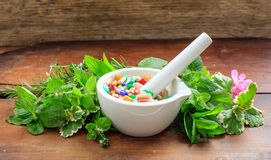 Herbs and pills in a mortar on wooden background Royalty Free Stock Photo