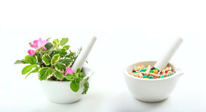 Herbs and pills in mortars on white background Royalty Free Stock Images