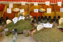 Herbs for sale on a market stall Royalty Free Stock Images