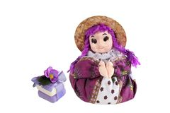 Herbs soap  and scented sachets Lavender  in the form of dolls f Stock Photo