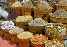 Herbs and spices. Section at the egyptian market royalty free stock photography