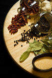 Herbs and spices. Still life of herbs and spices arranged on round wooden cutting board stock photography