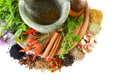 Herbs and spices. With mortar and bottle with oil stock images