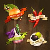 Herbs and spices badges set Stock Images