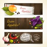 Herbs and spices banners horizontal Stock Images