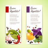 Herbs and spices banners vertical Stock Photography