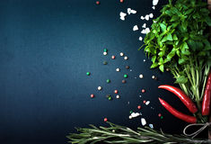 Herbs and spices. basil, red pepper, salt and rosemary on a blac Stock Images