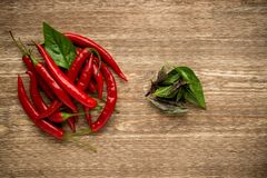 Herbs and spices. basil, red pepper on a wooden Royalty Free Stock Photography