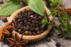 Herbs and Spices. Black peppercorns on a wooden spoon surrounded by other spices and herbs including star anise, basil and thyme royalty free stock image