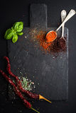 Herbs and spices on black slate stone board over dark background. Royalty Free Stock Images