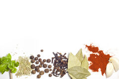 Herbs and spices border Royalty Free Stock Photo