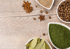 Herbs and Spices Border. Arranged dried herbs and spices with copy space for your text on the left side stock images