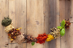 Herbs and spices border frame. Herbs and spices forming a half circle border frame royalty free stock image