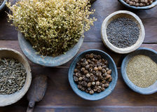 Herbs and spices in bowls. Used in ayurvedic medecine royalty free stock photos