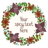 Herbs and spices circular wreath Royalty Free Stock Photo