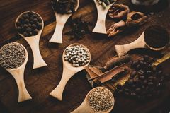 Herbs spices and coffee royalty free stock photos