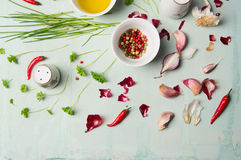 Herbs and spices for cooking. Top view Royalty Free Stock Photography