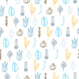 Herbs and spices doodle hand drawn pattern. Herbs and spices doodle hand drawn seamless pattern. Repeat blue and orange on white background Stock Photo