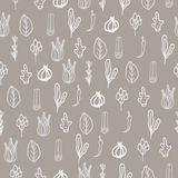 Herbs and spices doodle hand drawn pattern. Herbs and spices doodle hand drawn seamless pattern. Repeat white on brown taupe background Stock Images