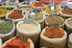 Herbs and spices on a french market Stock Images