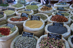 Herbs and spices at a French market Royalty Free Stock Image