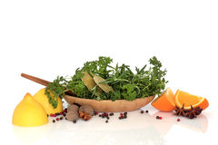 Herbs, Spices and Fruit Selection Stock Photography