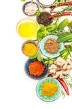 Herbs spices ginger white background Healthy organic food. Herbs and spices on white background. Curry, paprika powder, turmeric, ginger, rosemary, basil royalty free stock image