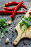 Herbs and spices for a healthy meal Royalty Free Stock Photography